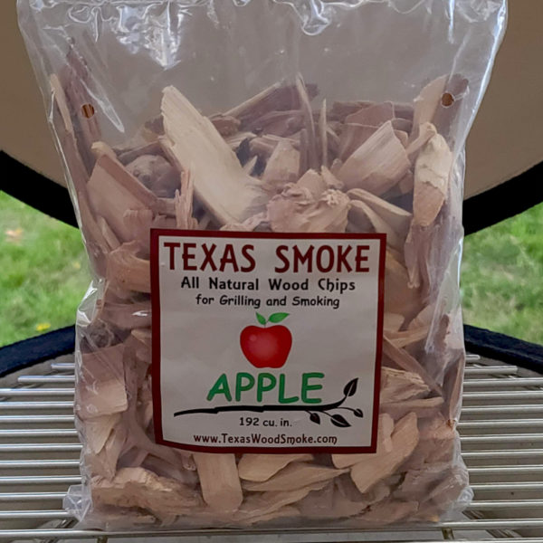 Apple flavored smoking chips. Texas Smoke: All Natural Wood Chips for Grilling and Smoking