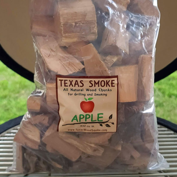 Apple flavored smoking chunks. Texas Smoke: All Natural Wood Chips for Grilling and Smoking