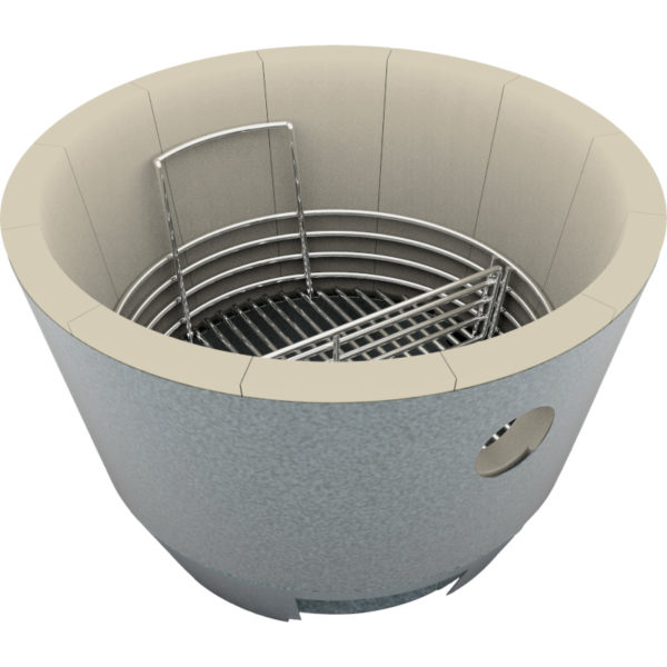 The Crucible Kamado Firebox lined with refractory brick and charcoal basket, for use in Saffire's premium kamado grills