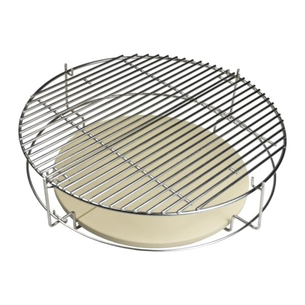 Saffire's Multi-Rack is shown with the Multi-Grid at the top of the rack and our Two-Piece Heat Deflector at the bottom for indirect cooking and smoking