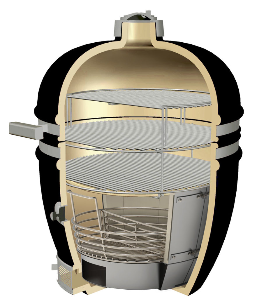 Grill Head Render with Crucible, Multi-Rack, and Secondary Cooking Grid