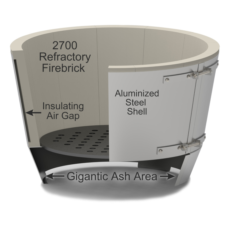 Saffire's patented kamado firebox comes with these features: removable stainless steel charcoal basket (with removable divider), aluminized steel housing a firebrick liner, insulating air gaps for efficiency, and a huge lift-out ash pan. The Crucible Kamado Firebox is the best firebox for ultimate durability!